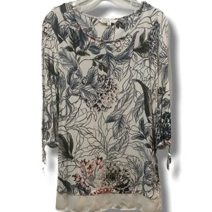CLEO FLORAL PRINT TOP 3/4 SLEEVE WITH TIES SZ XS